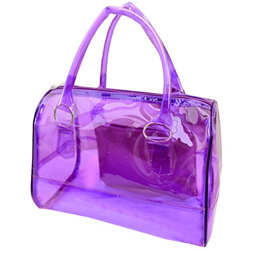 Donalworld Women PVC Clear Bag Summer Beach Jelly Purple Handbag Purple Plastic Purse