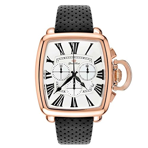 Glam Rock Men's Vintage Black Leather Band Rose Gold Plated Case Swiss Quartz White Dial Watch GR28100F-N