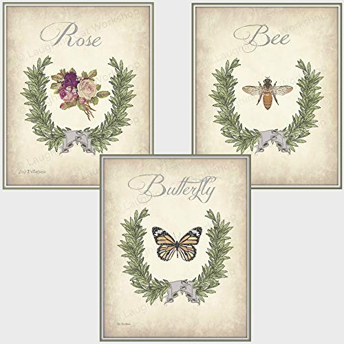 Garden Botanical Print set of three, Floral French Country Bathroom decor Butterfly art Bee Art print Rose art print Shabby Chic bedroom decor Cottage Chic Antique Vintage Home ()