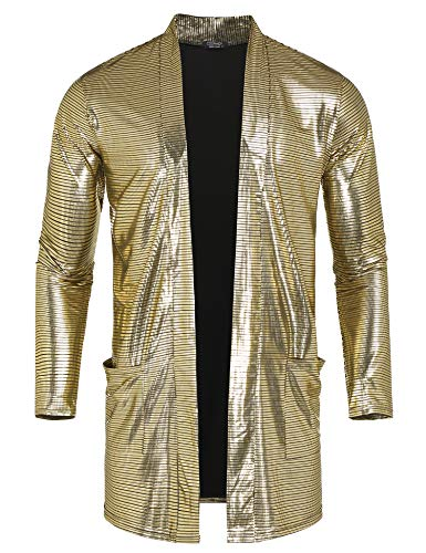 e649602bae5517 COOFANDY Men's Sequin Metallic Shiny Cardigan Disco Party Nightclub Pockets  Cape