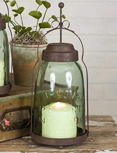 Half Gallon Mason Jar Butler Lantern- Metal Lantern Candle Holder, Rustic Indoor/Outdoor Light for Your Home Decor - Modern Rustic Vintage Farmhouse Style (Tall Candle Lantern Holders)
