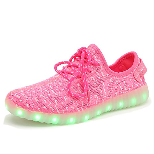 Dear-Queen 7 Colors Unisex LED Shoes Luminous Flashing USB Charging Sneakers colorful Light Up Glowing Casual Flat Shoes Pink fg5zpMOksH