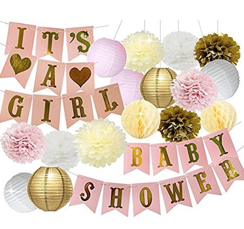 Baby Shower Party Decorations Set - Pink, Grey and White Birthday Decoration Kit- Indoor or Outdoor Use Pompoms and Flowers- Easy Assembly- Ideal for Girls' Baby Showers- Premium Quality Paper