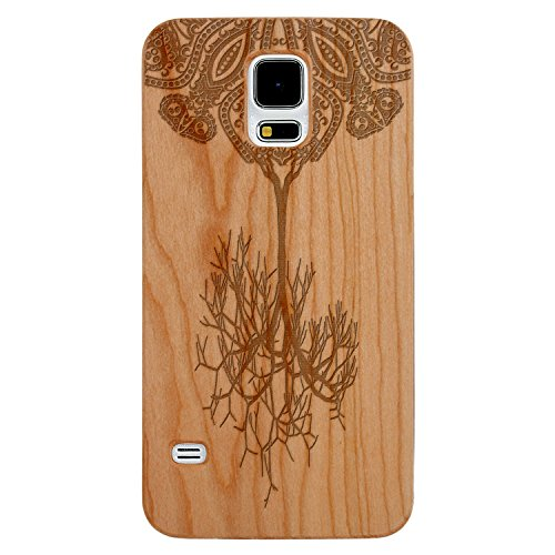 - JewelryVolt Wooden Phone Case for Galaxy S5 Cherry Wood Laser Engraved Spiritual Floral Fall Paisley Tree Fractal