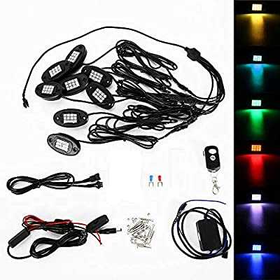 8Pcs Waterproof Auto LED Rock Light DC12V 24W RGB Car Atmosphere Lamp APP Phone Control Under Body Light Lamp for Offroad Truck Boat