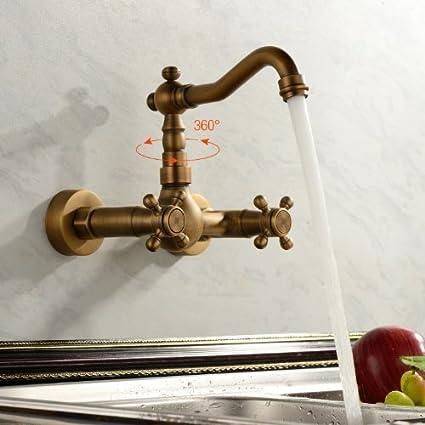 de inspiración antigua, grifo de la cocina - montaje en pared ...