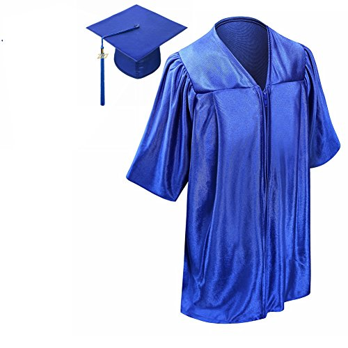 lescapsgown Kids Graduation Gown Cap Tassel 2017-Neck Piping(Royal (Baby Cap And Gown)