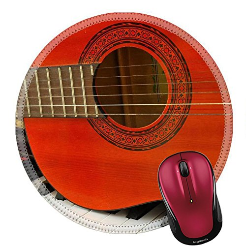 Liili Round Mouse Pad Natural Rubber Mousepad Acoustic guitar on piano keyboard For concepts like music composition Photo 7114791