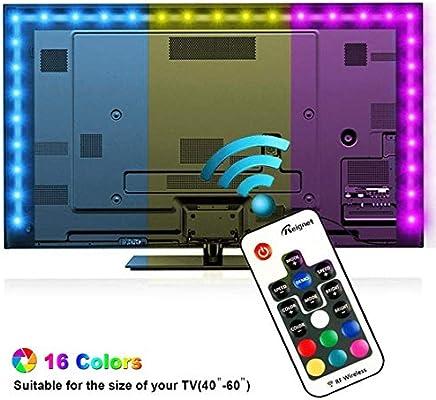Tiras LED Iluminación 200cm, Reignet Tira de LED para HDTV de 40-60 pulgadas. Retroiluminación de TV Impermeable 5050 SMD RGB Tira LED Kit Completo de Mando a Distancia 17 Teclas: Amazon.es: Iluminación