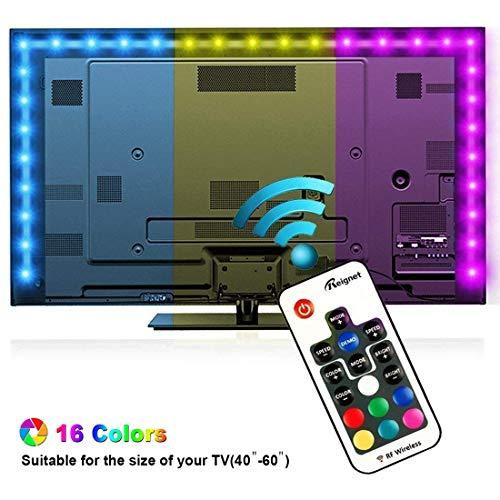 Tiras LED Iluminacion 200cm, Reignet Tira de LED para HDTV de 40-60 pulgadas. Retroiluminacion de TV Impermeable 5050 SMD RGB Tira LED Kit Completo de Mando a Distancia 17 Teclas