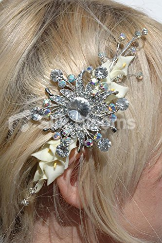 Sparkling Clear Iridescent Crystal Mini Calla Lily Hair Comb