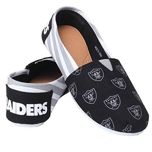 Womens Shoes Football 2015 On Ladies Summer Slip Canvas Collectibles Pick NFL Oakland Stripes Team Forever Raiders wvHx4