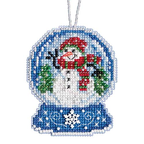 Hill Ornament - Snowman Snow Globe Beaded Counted Cross Stitch Charmed Ornament Kit Mill Hill 2019 Snow Globes MH161933
