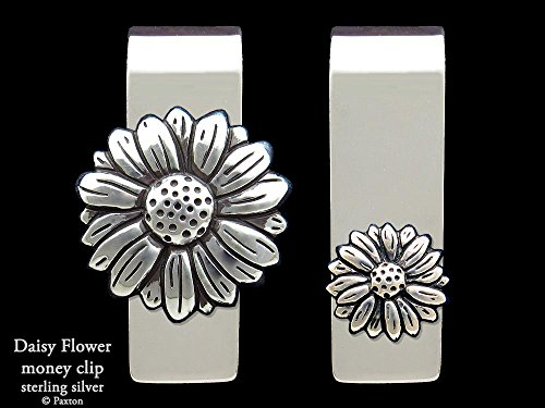 Daisy Flower Money Clip in Solid Sterling Silver Hand Carved, Cast & Fabricated by Paxton by Paxton Jewelry
