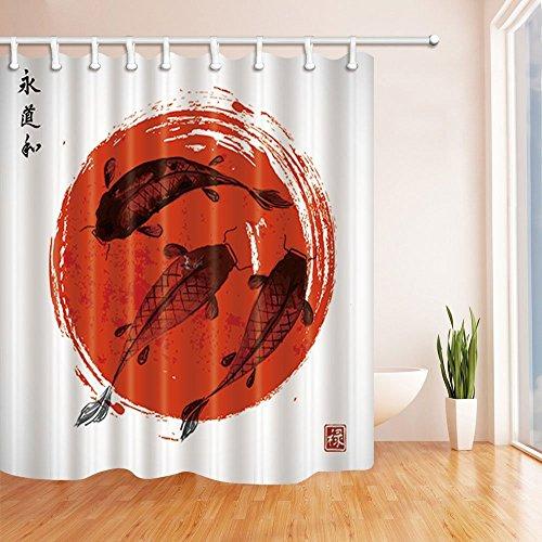 Black Background Koi Shower Curtain Liner Bathroom Mat Polyester Fabric Hooks