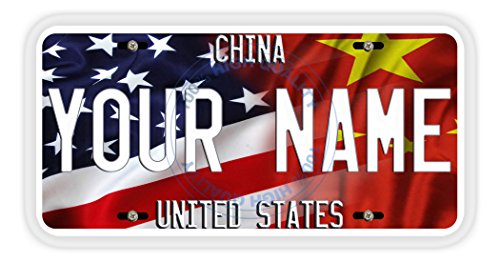 BleuReign(TM) Personalized Mixed USA and China Flag Car Vehicle License Plate Auto Tag ()