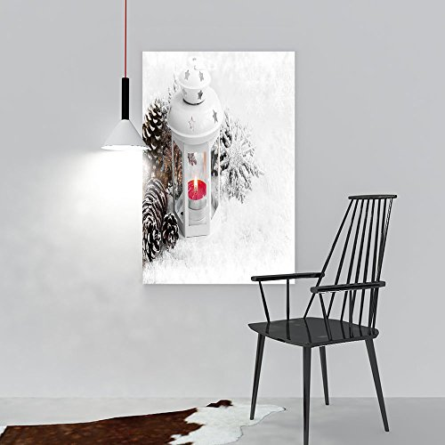 (Decorative Painting Frameless White Christmas Lantern Burning Candle in The Snow Ice Snowflakes Wall Decor W12 x H16)