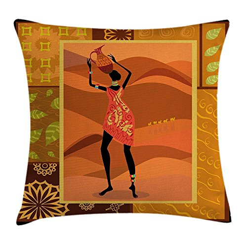 Jagfhhs African Woman Frame with Natural Autumn Elements Native Girl with Vase Exotic Zulu Print Cotton Polyester Hidden Zipper Throw Pillow Covers Square Standar Size:22x22 IN (Two Sides) -