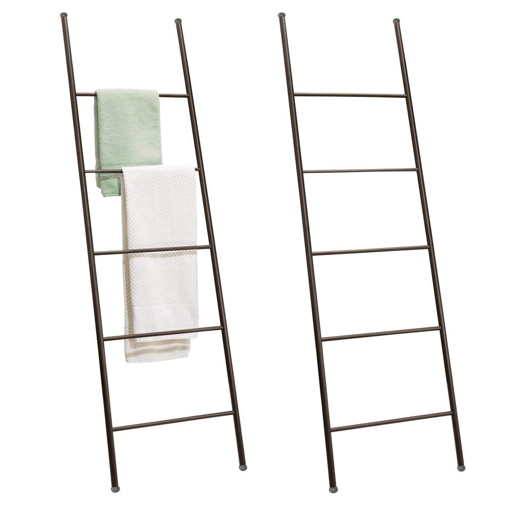CDM product mDesign Metal Free Standing Bath Towel Bar Storage Ladder - Holds Towels, Blankets, Clothes and Magazines/Newspapers - 5 Levels - 2 Pack - Bronze big image