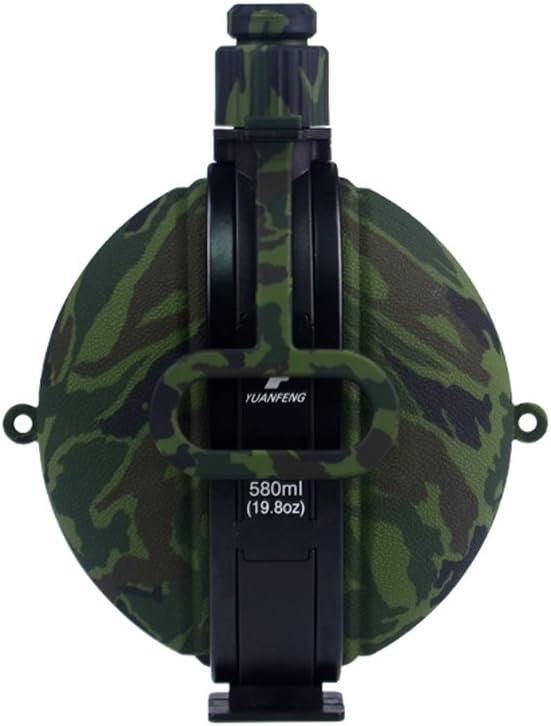 VORCOOL Botella de Agua Militar Plegable Recién Diseñado Cantimplora de Agua de Silicona con Brújula Tapa de Botella para IR de Excursión Acampar al Aire Libre