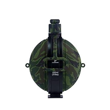 VORCOOL Botella de Agua Militar Plegable Recién Diseñado Cantimplora de Agua de Silicona con Brújula Tapa de Botella para IR de Excursión Acampar al ...