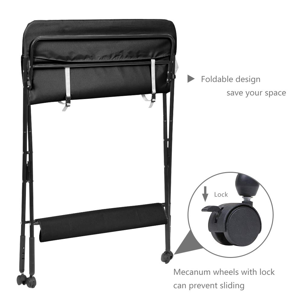 Foldable Infant Care Station with Wheels Mobile Newborn Massage Table Space-Saving Dresser Diaper Organizer aHUMANs Baby Changing Table