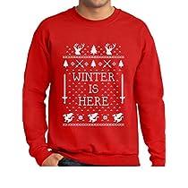 TeeStars - Winter Is Here ugly Funny Christmas Coming Ugly Christmas Sweater Sweatshirt Medium Black