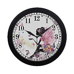 InterestPrint Pink Flowers Fairy with Butterflies Modern Round Wall Clock Decorative Quartz Clock for Office School Kitchen Bedroom Living Room, Black