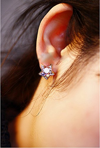 JD Million shop New Hot ! Fashion Fine Jewelry Gold Color Rhinestone Colorful Crystal Dazzling Compact Star Stud Earrings For Women Gifts (E120 Display)