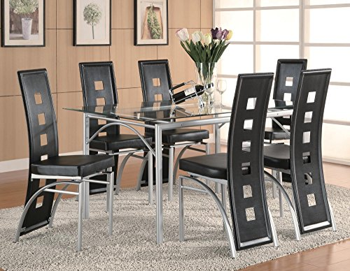 - Coaster 101682 Los Feliz Black Vinyl and Metal Side Chairs Set of 2