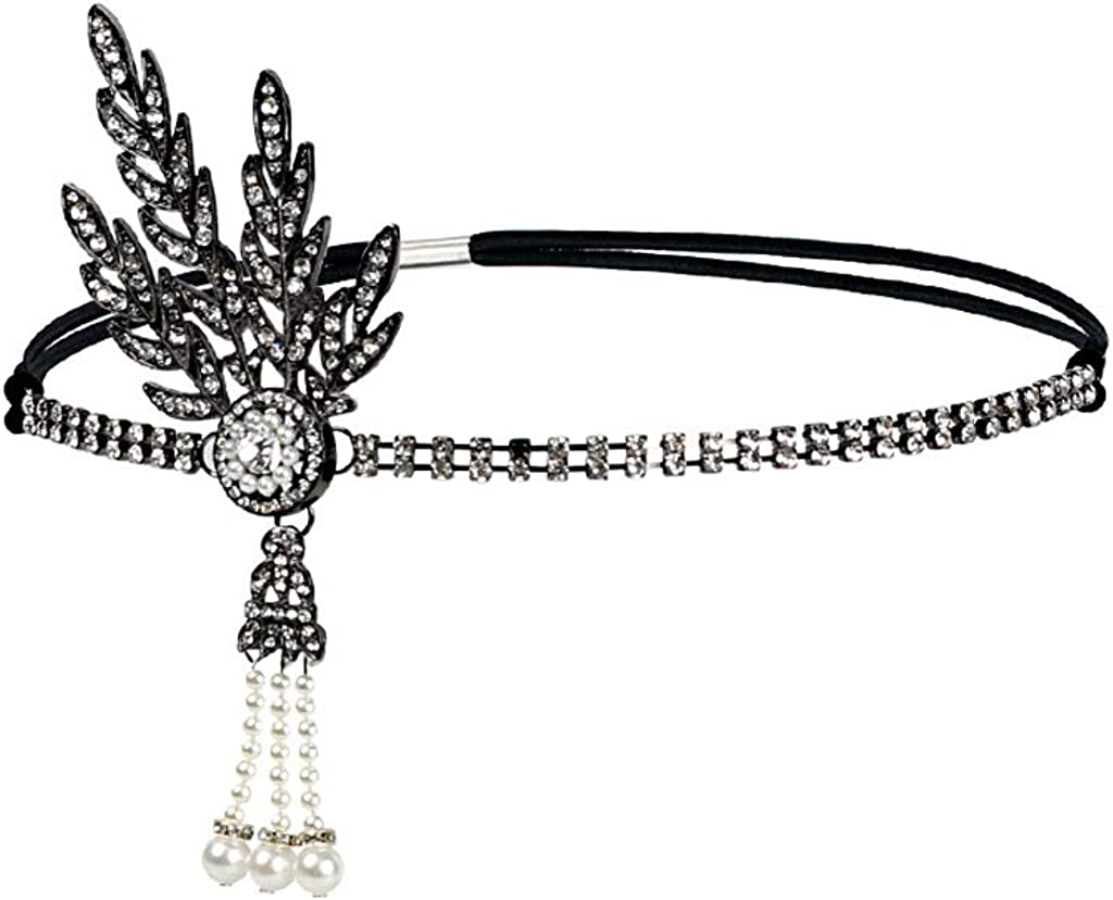 BABEYOND 1920s Flapper Headband and Gatsby Bracelet Adjustable Ring Set Great Gatsby Inspired Leaf Simulated 1920s Jewelry Set Black