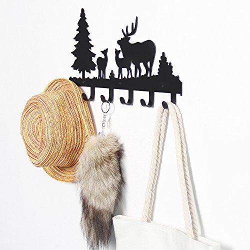 CoolPlus Metal Wall Mounted Coat Hooks, Crossbody Bag Hanger, Umbrella Stand, Purse Rack, Key Holder, Decorative Clothes Hat Organizer, Perfect for Foyers, Entryway, Hallway, Deer Pattern Black Finish
