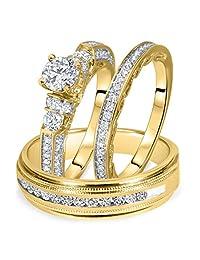 2heart 1 1/2 Carat T.W. Round Diamond Matching Trio Wedding Ring Set 14K Yellow Gold Over