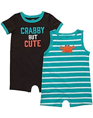 Carter's Baby Boys 2 Pack Romper Set Stripe/Crab Newborn