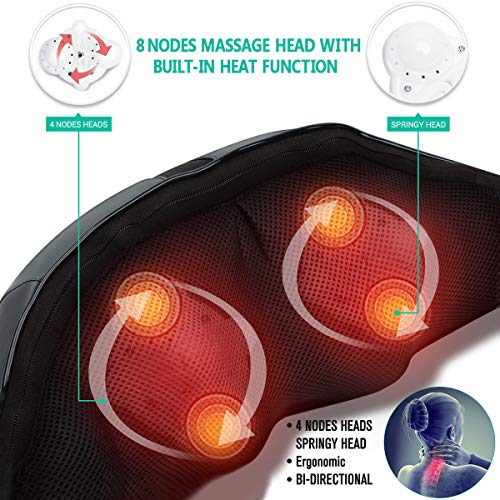 Medcursor Neck and Shoulder Massager with Heat, 3D Shiatsu Deep Tissue Kneading Massage Pillow for Back, Leg, Body Muscle Pain Relief, Home, Office, and Car Use