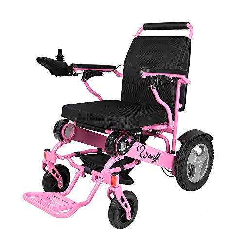 SELF FDA Registered D09 Foldable Motorized Wheelchair Electric Power Wheelchair - Lightweight and Durable - Weighs only 58 lbs with Battery - Supports 400 lb (Pink)