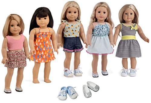 sweet dolly 18 inch Doll Clothes Shoes American Girl, 5 Outf