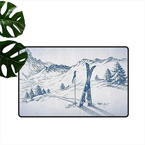 (Winter,Kitchen Rugs Sketchy Graphic of a Downhill with Ski Elements in Snow Relax Calm View 18
