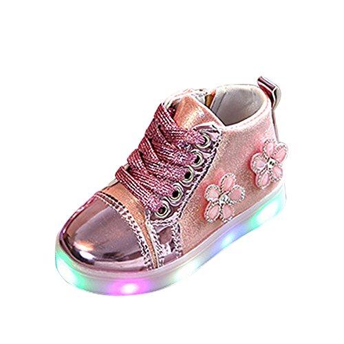 Sunnyoyo Nette 1-4 Jahre alt Kinder Kinder Mädchen Blume Zip Kristall LED Leuchten Leucht Turnschuhe Schuhe Rosa