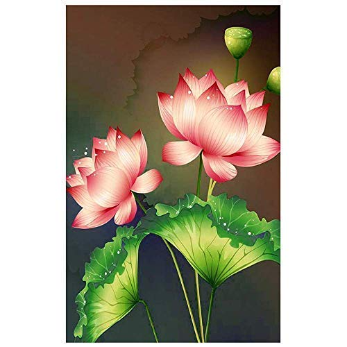 DIY Round Diamond Painting Kits for Adults Full Drill Cross Stitch Lotus Flower Home Decoration 30x20CM