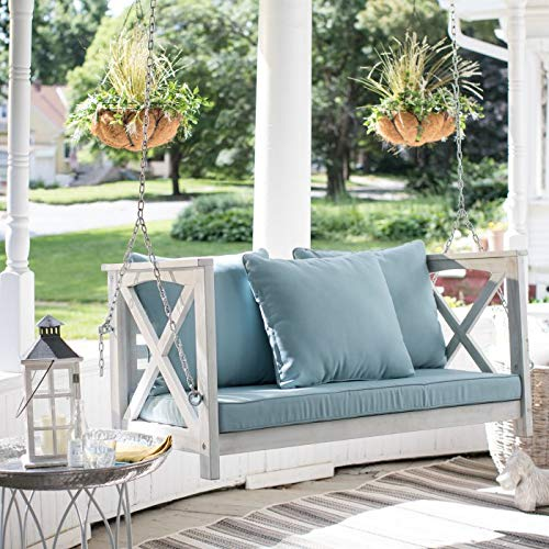 Country Cottage Modern Farmhouse Shabby Chic Whitewash Finish Wood Outdoor Porch Swing Patio Furniture 4 Foot Includes Blue Cushions