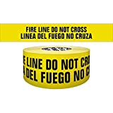 Presco Premium Printed Barricade Tape: 3 in. x 1000 ft. (Yellow with Black''FIRE LINE DO NOT CROSS LINEA DEL FUEGO NO CRUZA'' printing)