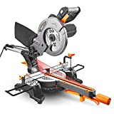 """Miter Saw with Laser, TACKLIFE 12.5-Amp 4500RPM 8-1/2'' Single-Bevel Compound Sliding Miter Saw, 7.87"""" Stroke Length, 10 feet (3M) Core Length, Lightweight Aluminum Guard - Tacklife PMS01X"""