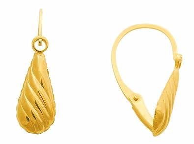 Diamantly Boucles D Oreilles Dormeuses Goutte Or Jaune Largeur