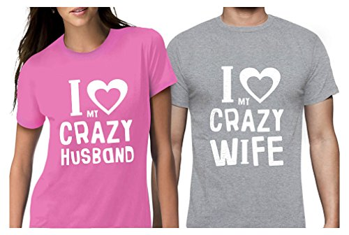 Funny Husband & Wife Couples Gift Anniversary/Newlywed Matching Set T-Shirts Man Gray X-Large/Woman Pink (Wed Set)