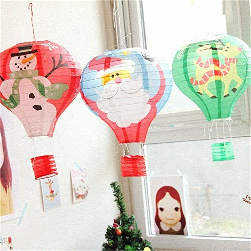 6Pcs//Pack 12 Santa Claus Hot Air Balloon Paper Lantern Chinese Japanese Paper Lamps for Christmas Birthday Wedding Halloween Party Decoration