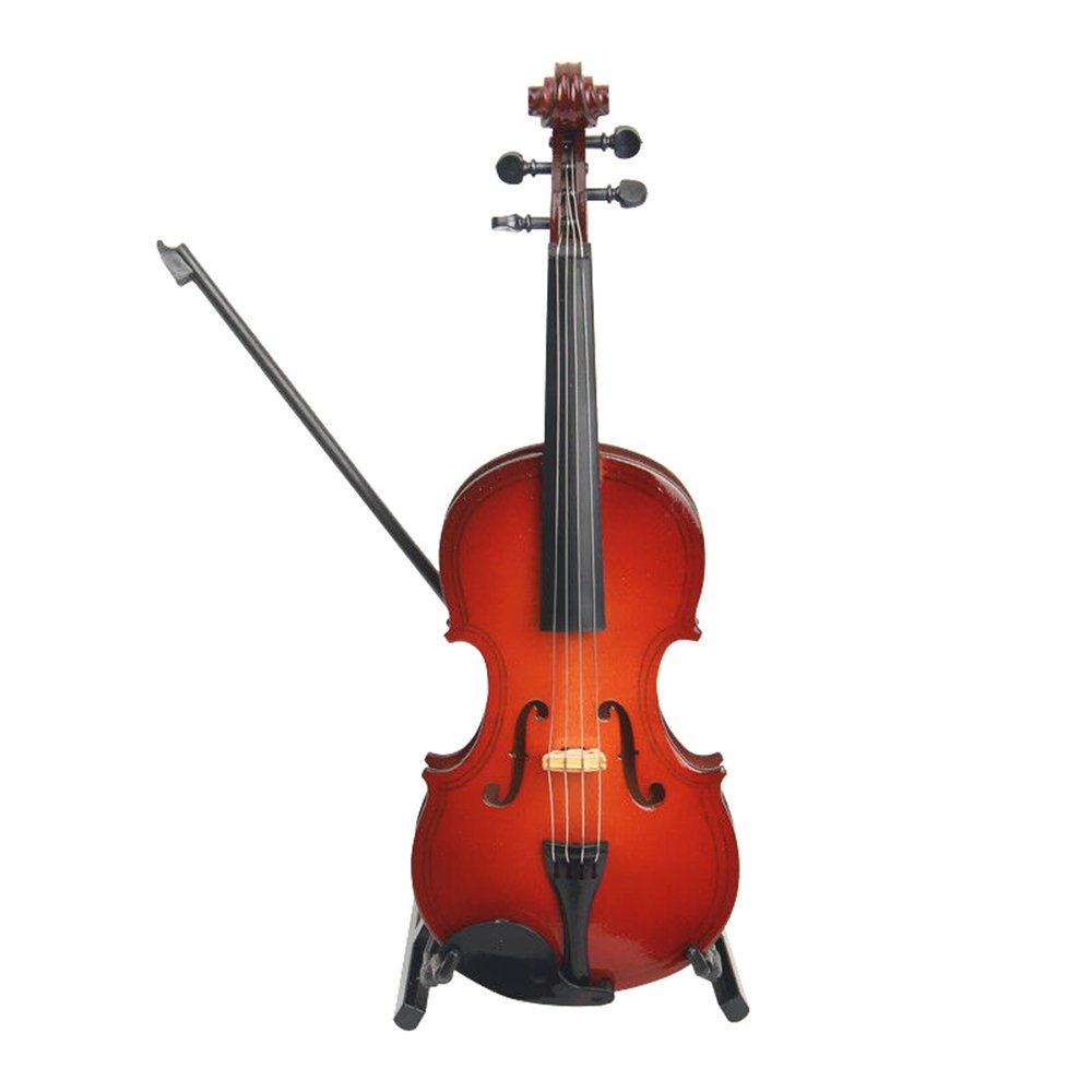MyLifeUNIT Mini Violin Stand Bow Case, Wooden Musical Instrument