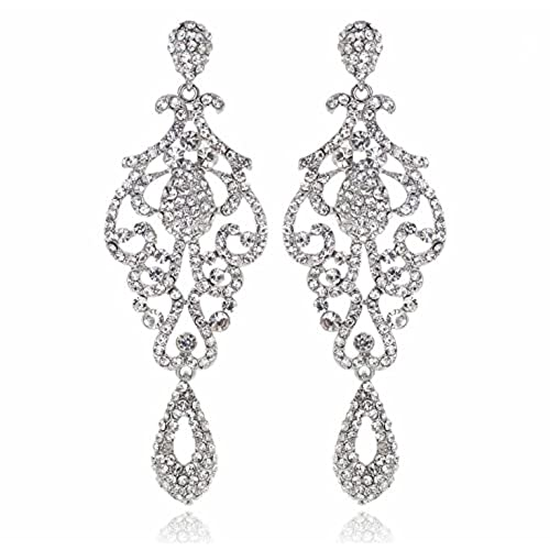 Long dangling chandelier earrings amazon large pageant austrian crystal rhinestone chandelier dangle earrings prom e2090 2 colors gold or silver silver aloadofball Image collections