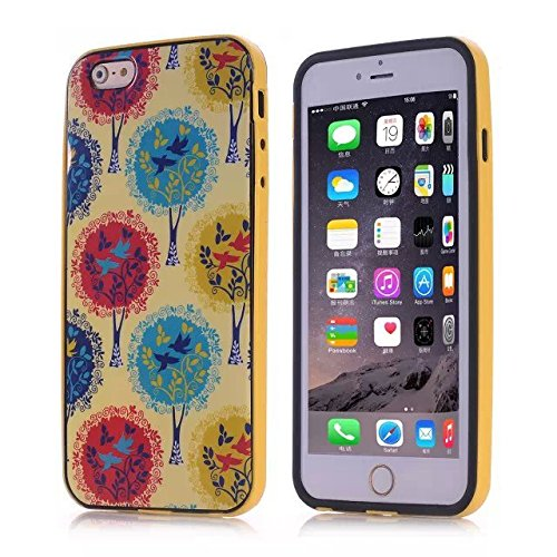 For iPhone 6 4.7'' Case ,YW (TM) TPU Frame Work Bumper Protective Hybrid Impact Armor Slim Defender Hard Case Cover For Apple iPhone 6 4.7inch Smartphone with One Piece Random Color Stlye Dress up Sticker Gift - Bird of Paradise