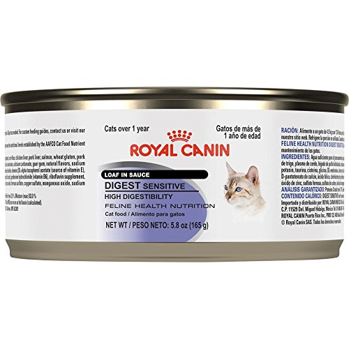 Royal Canin Feline Health Nutrition Digest Sensitive Loaf in Sauce Canned Cat Food, 5.8-Ounce, 24-Pack